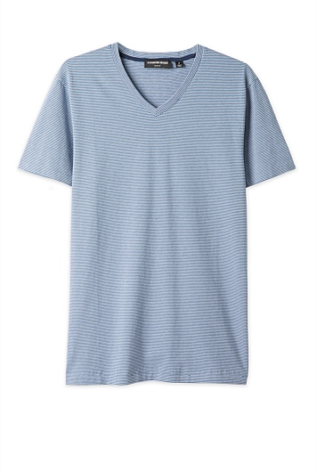 Three Colour Stripe V-Neck T-Shirt