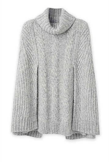Cable Mock Neck Cape