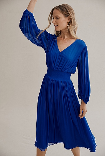 Pleat Sleeve Midi Dress