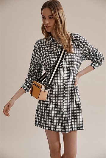 Check Puff Sleeve Dress