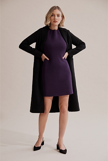 Boiled Wool Shift Dress