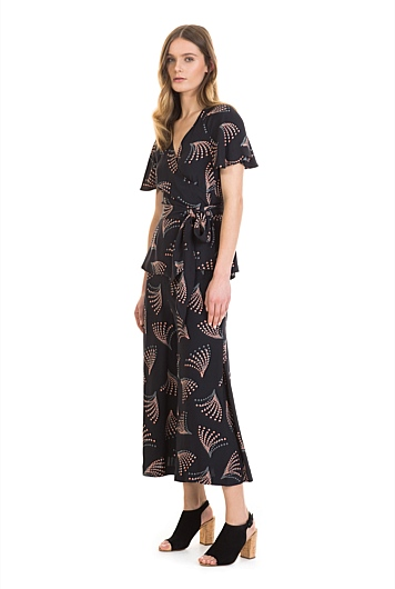 Print Side Pleat Culotte