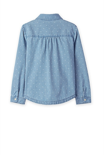 Ruffle Chambray Shirt