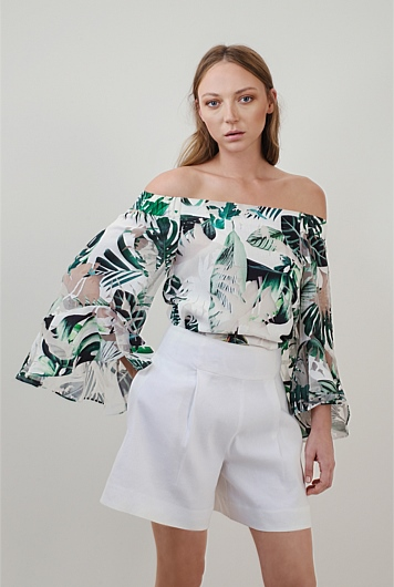 Burn Out Off Shoulder Top