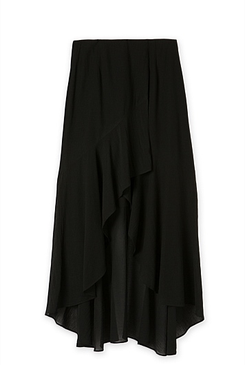 Soft Ruffle Asymmetric Maxi Skirt