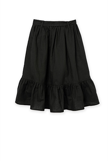Cotton Linen Frill Tie Midi Skirt