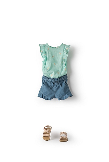 Ruffle Chambray Short