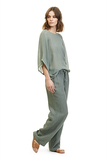Basketweave Wide Leg Pant
