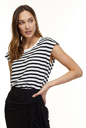 Stripe Asymmetric T-Shirt