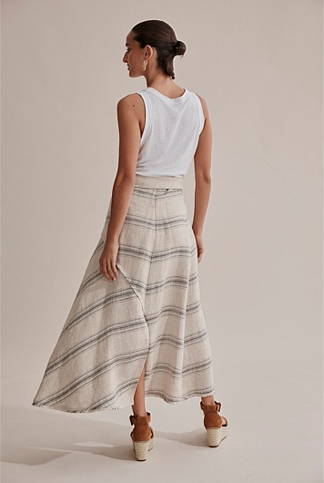 Frayed Midi Skirt