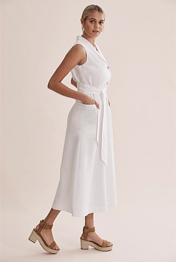 Linen Button Front Maxi Dress