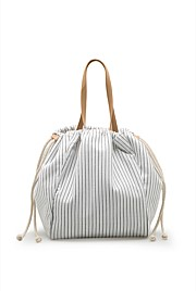 Pinstripe Drawcord Tote