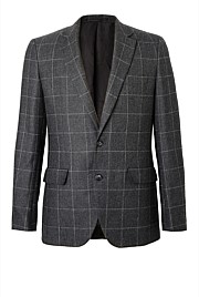 Slim Windowpane Tweed Jacket