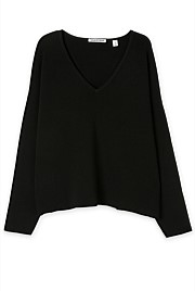 Tuck Rib Oversized V-Neck