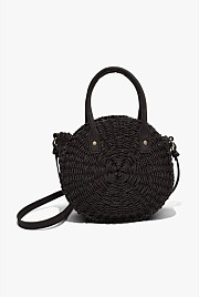Round Mini Straw Crossbody