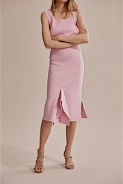 Compact Knit Asymmetric Skirt
