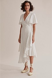 Wrap Stripe Ruffle Dress
