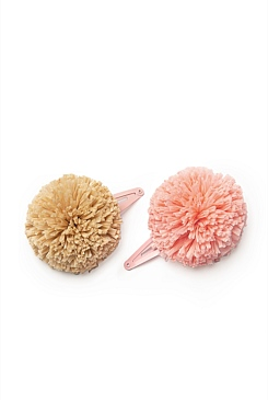 Straw Pom Clips Pack of 2