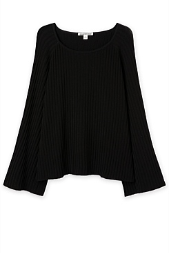 Pleated Sleeve Knit Top