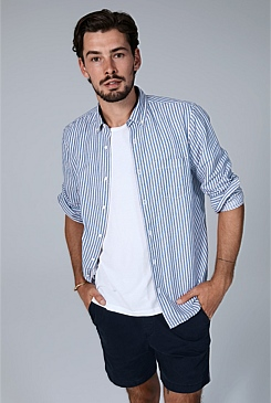 Regular Stripe Indigo Shirt
