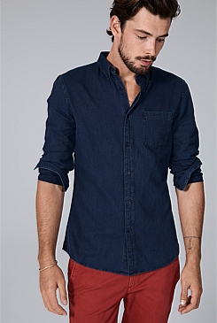 Slim Textured Indigo Shirt