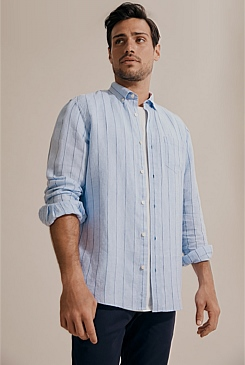 Wide Stripe Linen Shirt