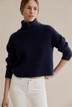 Fluffy Roll Neck Knit Sweater