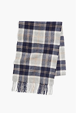 Navy Check Moon Scarf