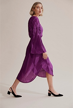 Pleated Gathered Waist Dress