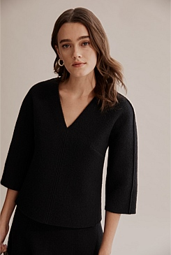 Boiled Wool V-Neck Top