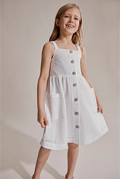 Broderie Button Dress