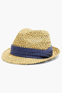 Printed Straw Trilby Hat