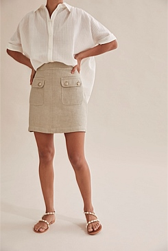 Linen Twill Mini Skirt