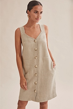 Twill Linen Button Dress