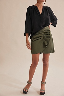 Gathered Ponte Skirt