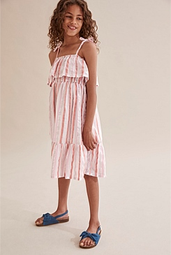 Crinkle Stripe Midi Dress