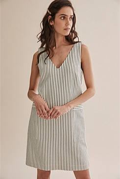 Twill Stripe Shift Dress