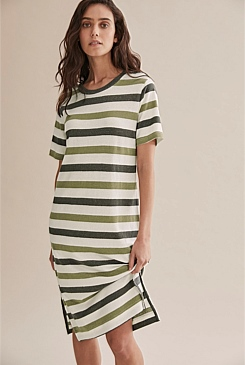 Stripe Basic T-Shirt Dress