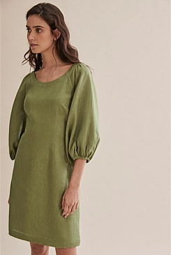 Linen Puff Sleeve Dress