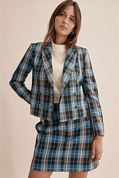 Crop Check Double Breasted Blazer