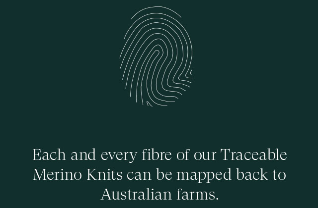 EAch and every fibre of our Traceable Merino Knits can be mapped back to Australian farms.