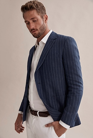Regular Linen Stripe Blazer