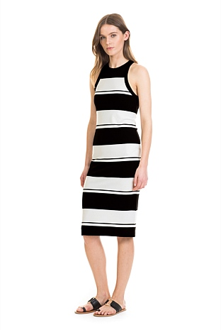 Stripe Rib Body Con Dress