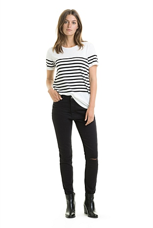 High Rise Ripped Skinny Jean