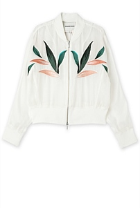 Embroidered Mesh Bomber