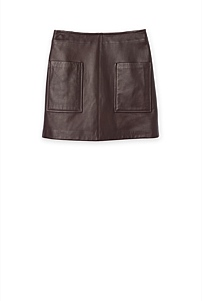 Pocket Detail Leather Skirt