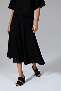 Textured Sheer Midi Skirt