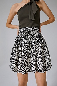 Shirred Print Mini Skirt