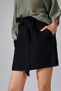 Twill Linen Mini Skirt
