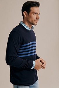 Chest Stripe Crew Knit